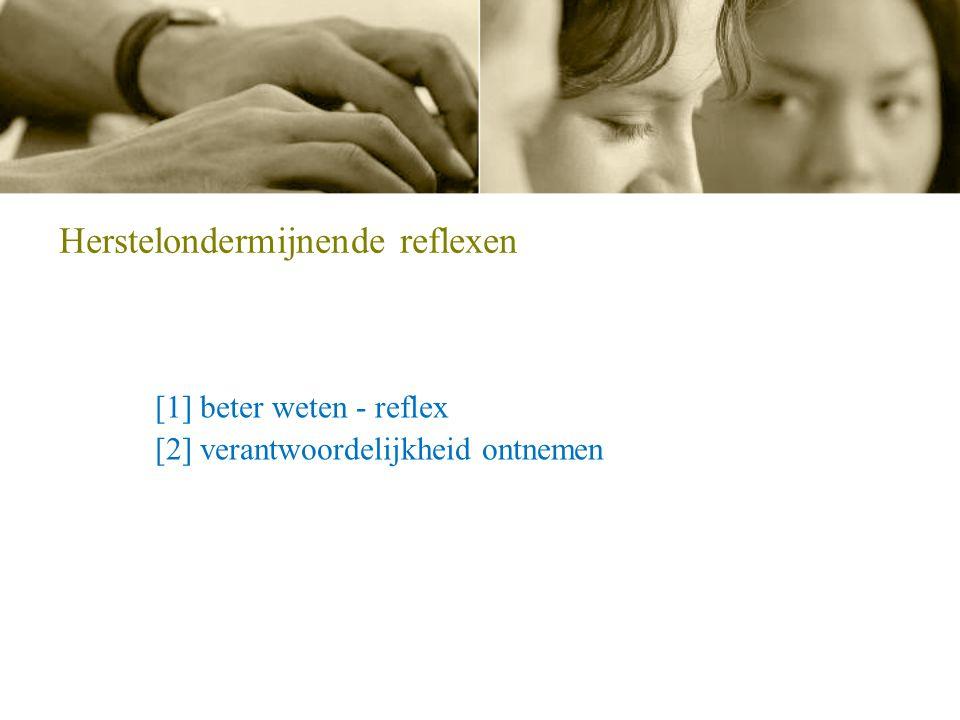 Herstelondermijnende reflexen [1] beter weten - reflex [2] verantwoordelijkheid ontnemen