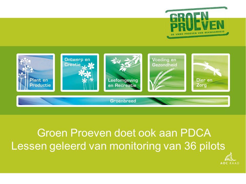 Groen Proeven doet ook aan PDCA Lessen geleerd van monitoring van 36 pilots