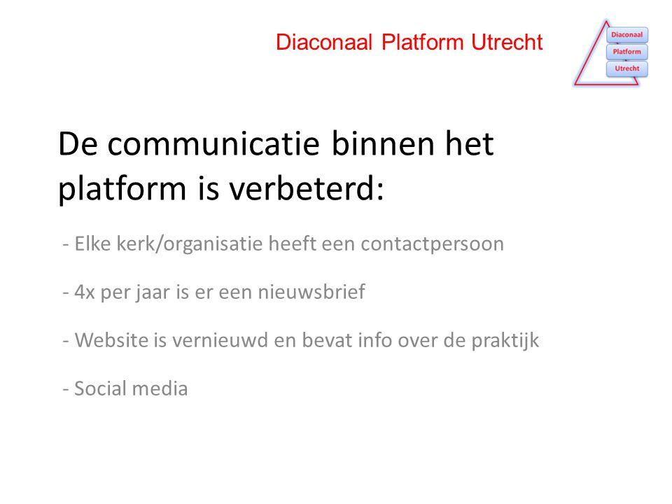 De communicatie binnen het platform is verbeterd: - Elke kerk/organisatie heeft een contactpersoon - 4x per jaar is er een nieuwsbrief - Website is vernieuwd en bevat info over de praktijk - Social media Diaconaal Platform Utrecht