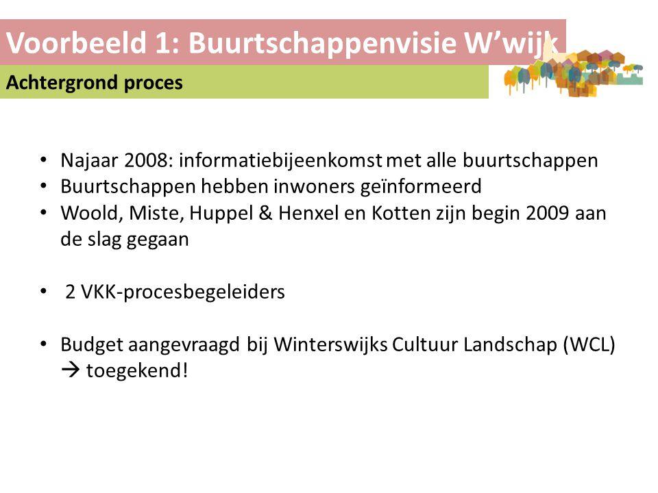 Voorbeeld 1: Buurtschappenvisie W'wijk Achtergrond proces • Najaar 2008: informatiebijeenkomst met alle buurtschappen • Buurtschappen hebben inwoners