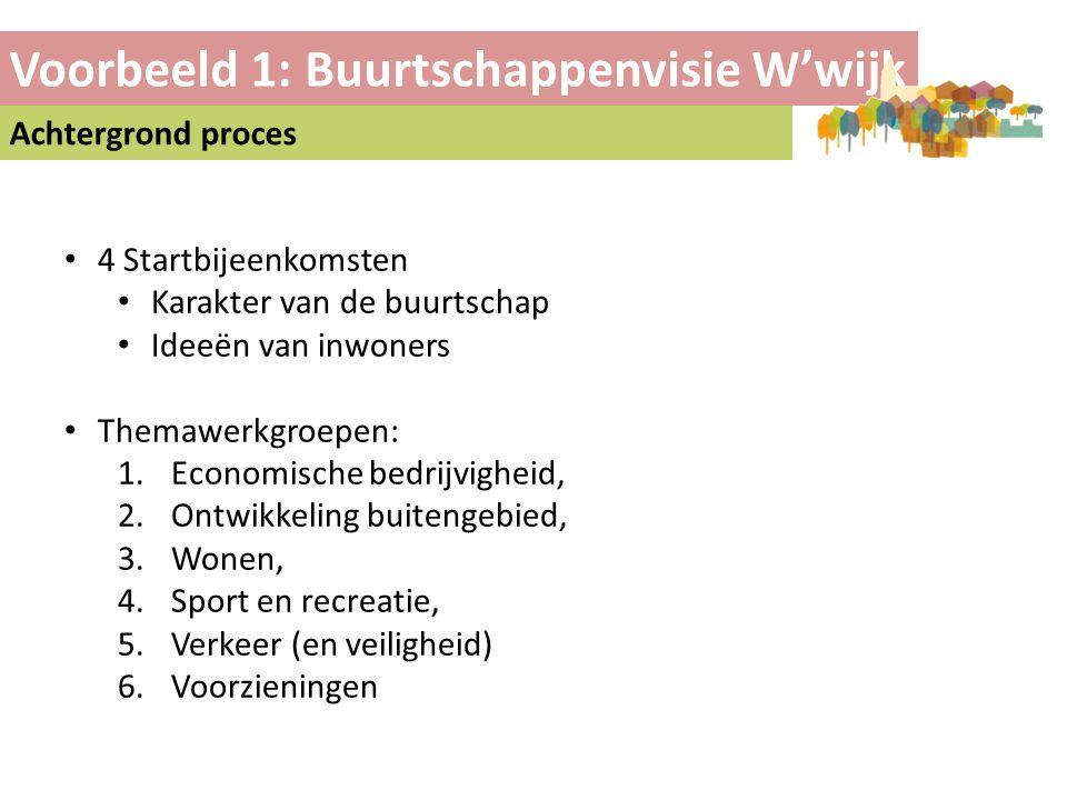 Voorbeeld 1: Buurtschappenvisie W'wijk Achtergrond proces • 4 Startbijeenkomsten • Karakter van de buurtschap • Ideeën van inwoners • Themawerkgroepen