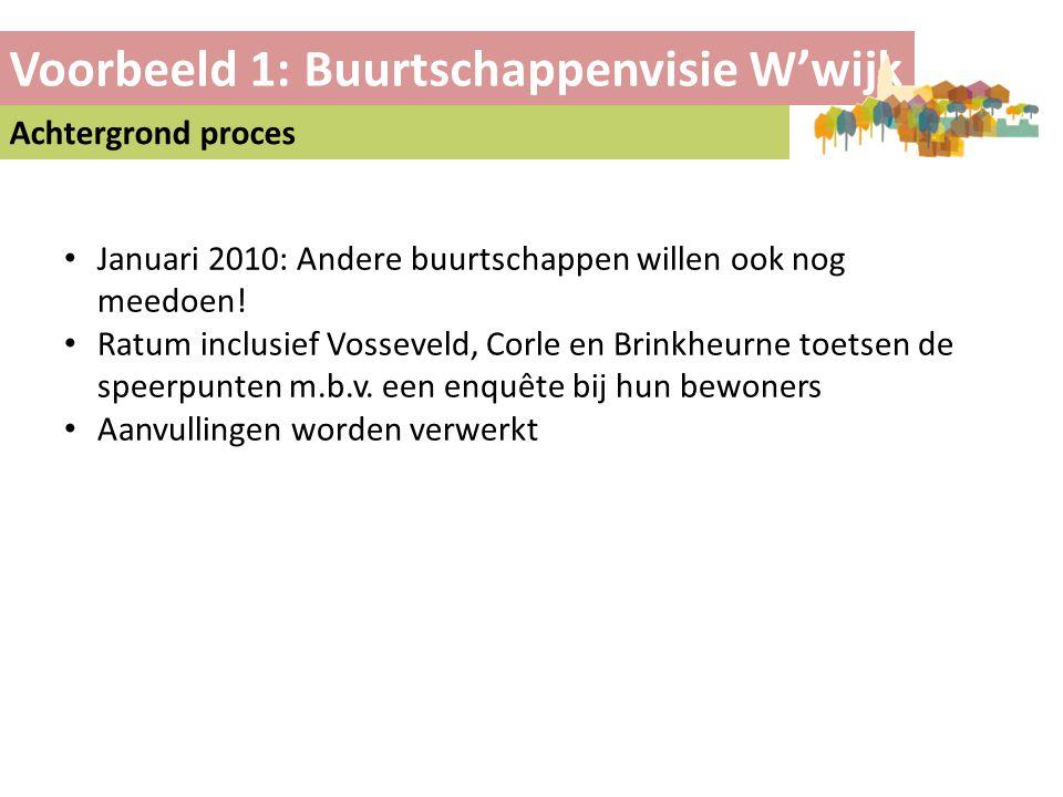 Voorbeeld 1: Buurtschappenvisie W'wijk Achtergrond proces • Januari 2010: Andere buurtschappen willen ook nog meedoen! • Ratum inclusief Vosseveld, Co