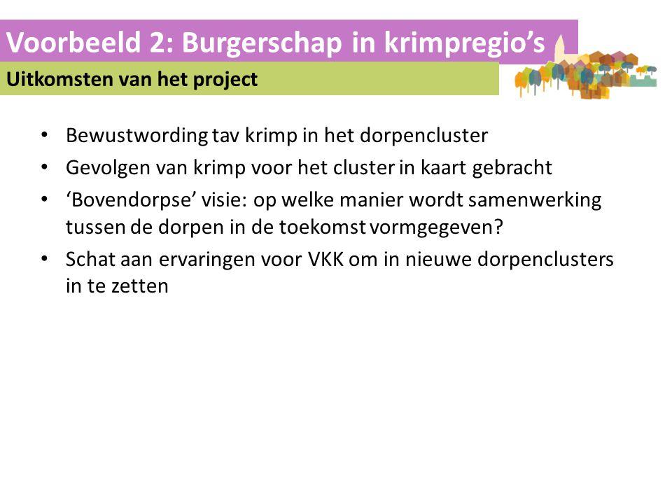 Voorbeeld 2: Burgerschap in krimpregio's Uitkomsten van het project • Bewustwording tav krimp in het dorpencluster • Gevolgen van krimp voor het clust