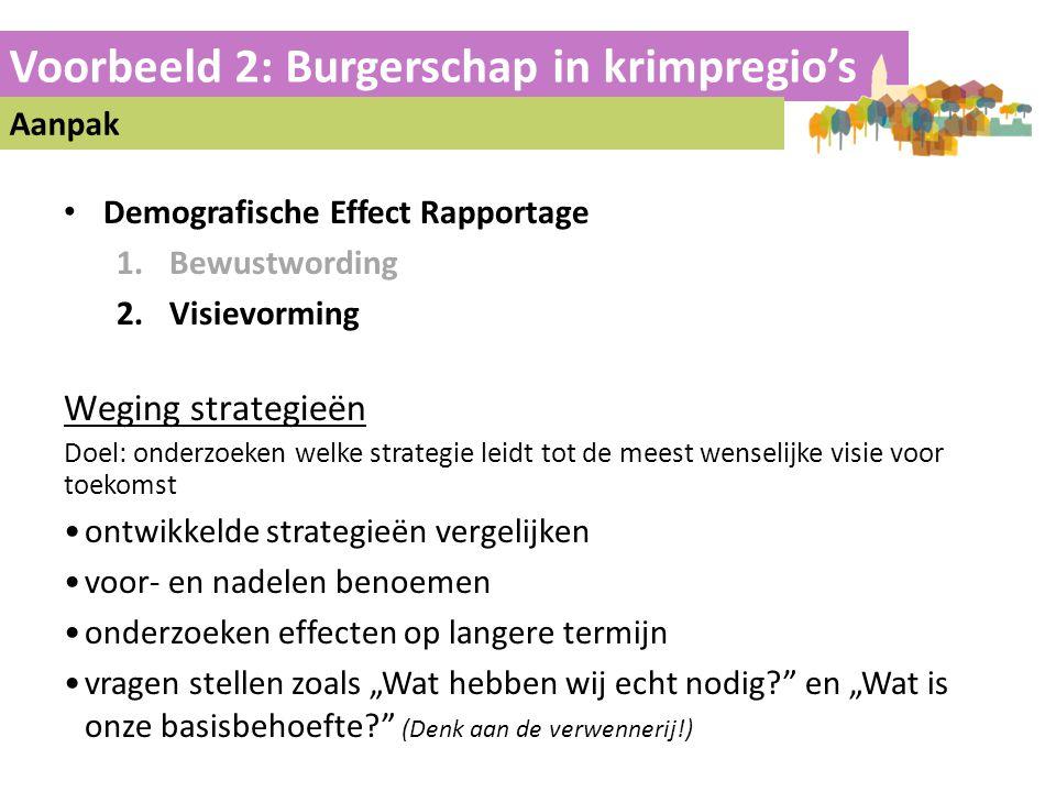 Voorbeeld 2: Burgerschap in krimpregio's Aanpak • Demografische Effect Rapportage 1.Bewustwording 2.Visievorming Weging strategieën Doel: onderzoeken