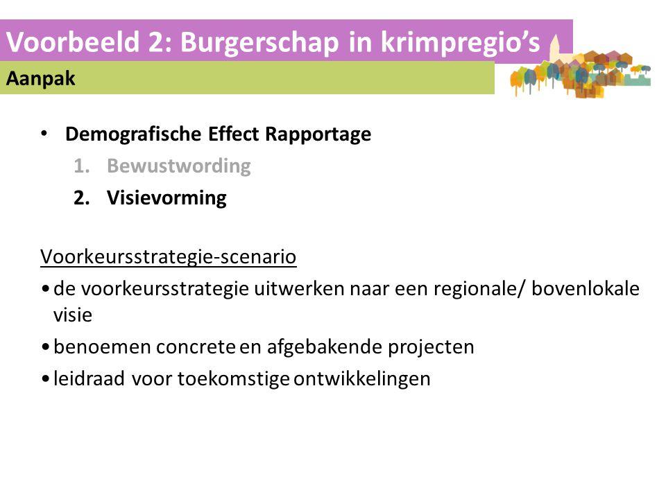 Voorbeeld 2: Burgerschap in krimpregio's Aanpak • Demografische Effect Rapportage 1.Bewustwording 2.Visievorming Voorkeursstrategie-scenario •de voork