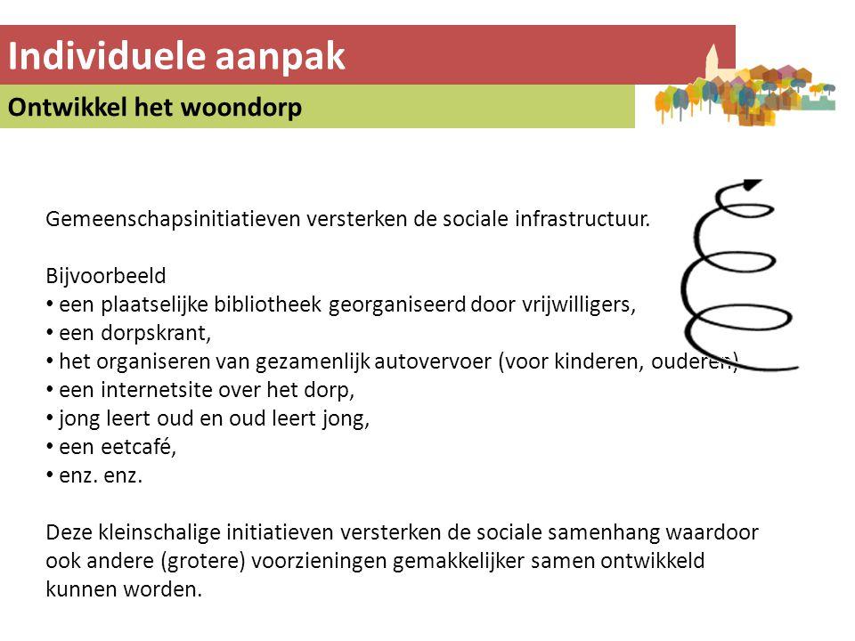 Individuele aanpak Ontwikkel het woondorp Gemeenschapsinitiatieven versterken de sociale infrastructuur. Bijvoorbeeld • een plaatselijke bibliotheek g