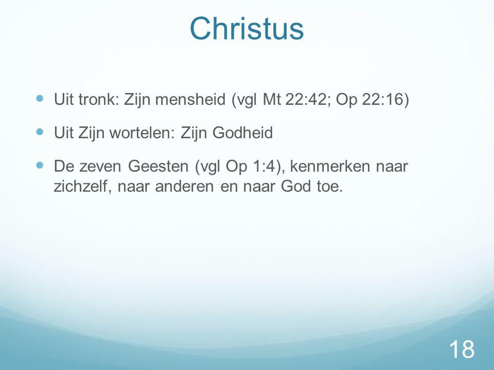 Christus  Uit tronk: Zijn mensheid (vgl Mt 22:42; Op 22:16)  Uit Zijn wortelen: Zijn Godheid  De zeven Geesten (vgl Op 1:4), kenmerken naar zichzelf, naar anderen en naar God toe.