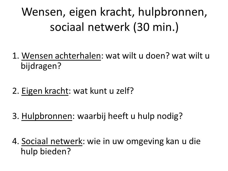 Wensen, eigen kracht, hulpbronnen, sociaal netwerk (30 min.) 1.