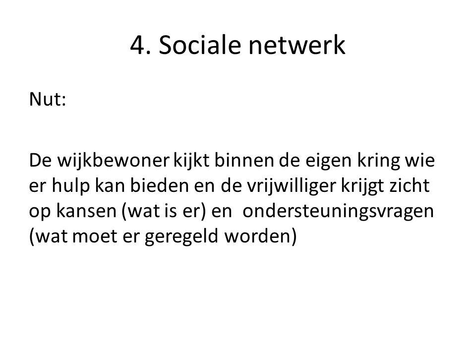 4. Sociale netwerk Nut: De wijkbewoner kijkt binnen de eigen kring wie er hulp kan bieden en de vrijwilliger krijgt zicht op kansen (wat is er) en ond