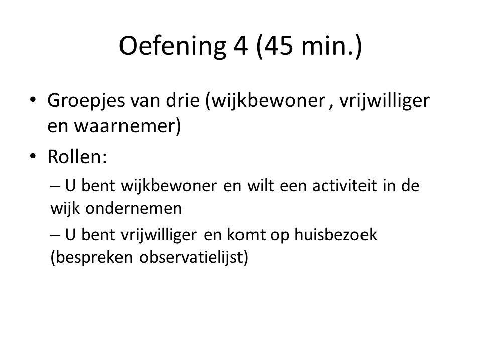 Oefening 4 (45 min.) • Groepjes van drie (wijkbewoner, vrijwilliger en waarnemer) • Rollen: – U bent wijkbewoner en wilt een activiteit in de wijk ondernemen – U bent vrijwilliger en komt op huisbezoek (bespreken observatielijst)