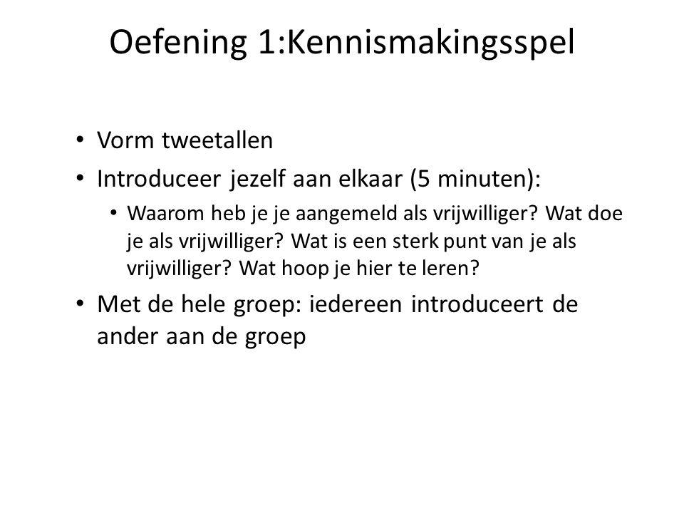 Oefening 1:Kennismakingsspel • Vorm tweetallen • Introduceer jezelf aan elkaar (5 minuten): • Waarom heb je je aangemeld als vrijwilliger.