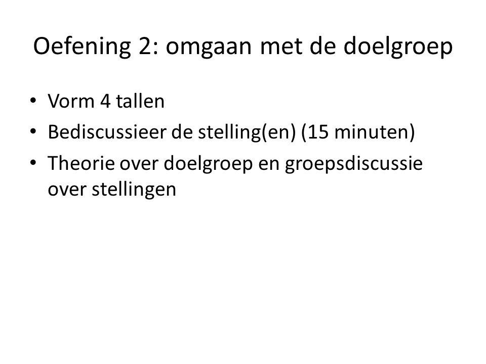 Oefening 2: omgaan met de doelgroep • Vorm 4 tallen • Bediscussieer de stelling(en) (15 minuten) • Theorie over doelgroep en groepsdiscussie over stellingen