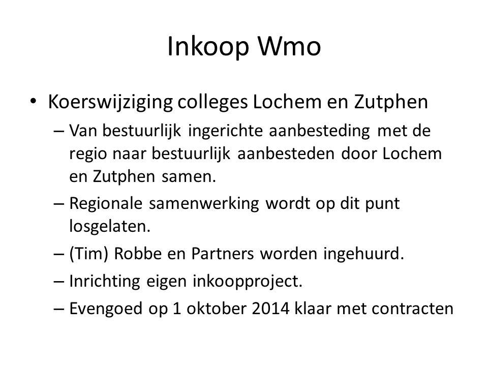Inkoop Wmo • Koerswijziging colleges Lochem en Zutphen – Van bestuurlijk ingerichte aanbesteding met de regio naar bestuurlijk aanbesteden door Lochem en Zutphen samen.
