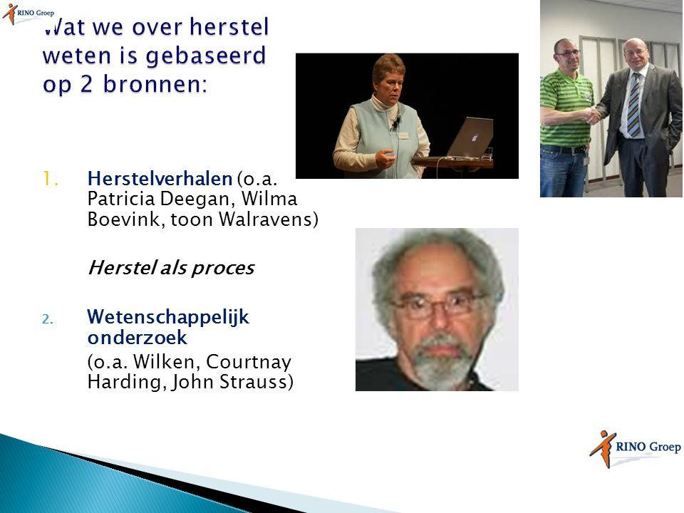 1.Herstelverhalen (o.a. Patricia Deegan, Wilma Boevink, toon Walravens) Herstel als proces 2. Wetenschappelijk onderzoek (o.a. Wilken, Courtnay Hardin