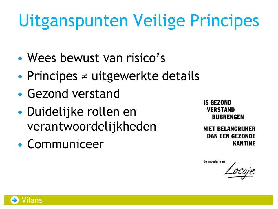 Uitganspunten Veilige Principes •Wees bewust van risico's •Principes ≠ uitgewerkte details •Gezond verstand •Duidelijke rollen en verantwoordelijkhede