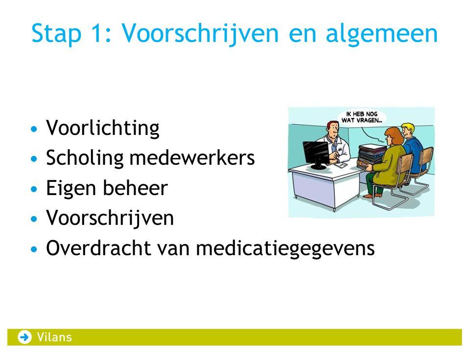 Stap 1: Voorschrijven en algemeen •Voorlichting •Scholing medewerkers •Eigen beheer •Voorschrijven •Overdracht van medicatiegegevens