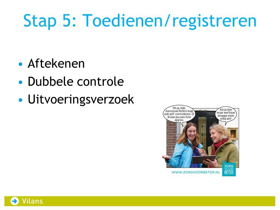 Stap 5: Toedienen/registreren •Aftekenen •Dubbele controle •Uitvoeringsverzoek