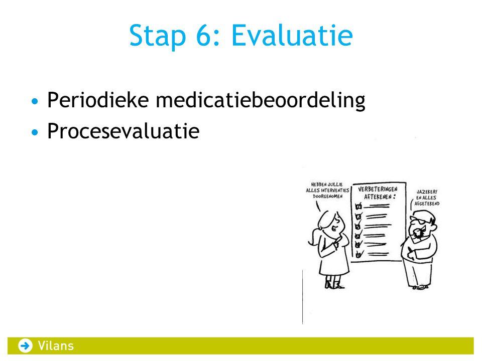 Stap 6: Evaluatie •Periodieke medicatiebeoordeling •Procesevaluatie