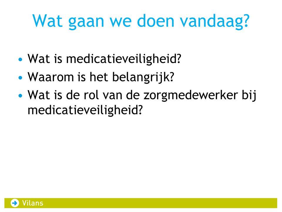 Wat gaan we doen vandaag? •Wat is medicatieveiligheid? •Waarom is het belangrijk? •Wat is de rol van de zorgmedewerker bij medicatieveiligheid?