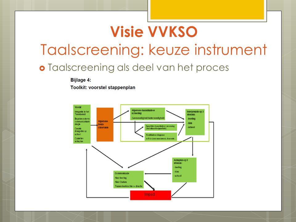 Visie VVKSO Taalscreening: keuze instrument  Taalscreening als deel van het proces