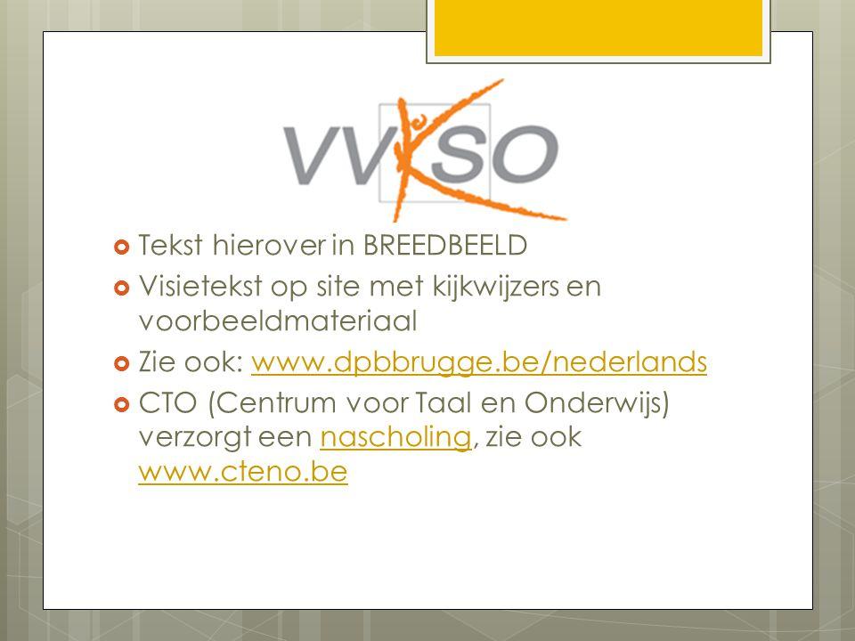  Tekst hierover in BREEDBEELD  Visietekst op site met kijkwijzers en voorbeeldmateriaal  Zie ook: www.dpbbrugge.be/nederlandswww.dpbbrugge.be/nederlands  CTO (Centrum voor Taal en Onderwijs) verzorgt een nascholing, zie ook www.cteno.benascholing www.cteno.be