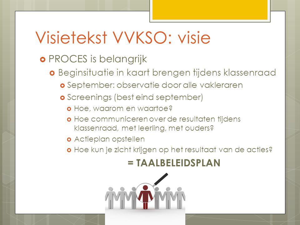 Visietekst VVKSO: visie  PROCES is belangrijk  Beginsituatie in kaart brengen tijdens klassenraad  September: observatie door alle vakleraren  Screenings (best eind september)  Hoe, waarom en waartoe.