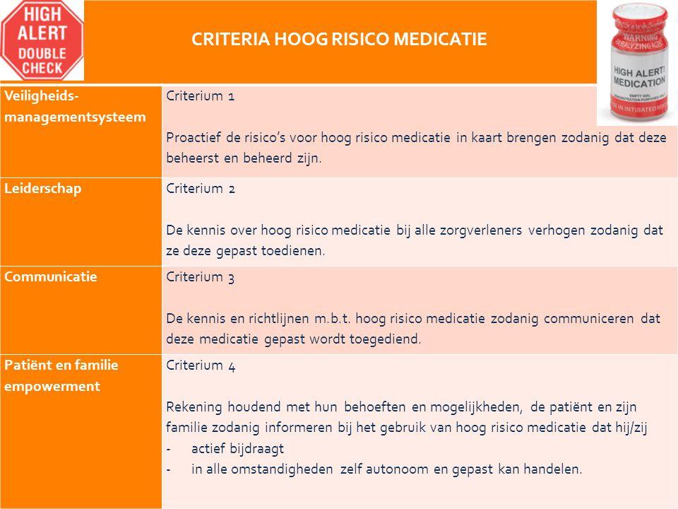 16 CRITERIA HOOG RISICO MEDICATIE Veiligheids- managementsysteem Criterium 1 Proactief de risico's voor hoog risico medicatie in kaart brengen zodanig dat deze beheerst en beheerd zijn.
