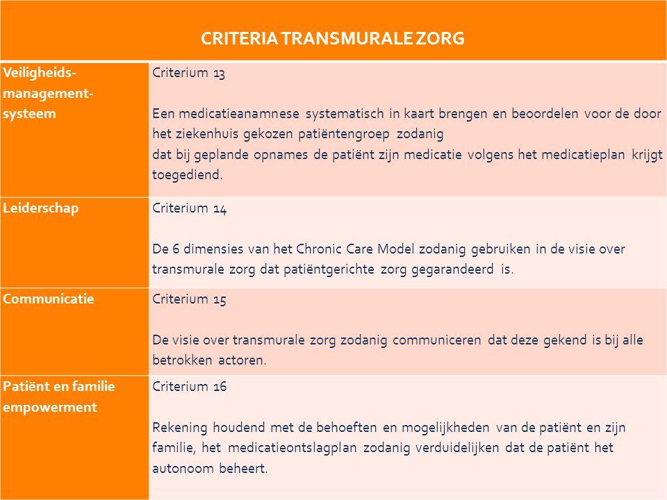 20 CRITERIA TRANSMURALE ZORG Veiligheids- management- systeem Criterium 13 Een medicatieanamnese systematisch in kaart brengen en beoordelen voor de door het ziekenhuis gekozen patiëntengroep zodanig dat bij geplande opnames de patiënt zijn medicatie volgens het medicatieplan krijgt toegediend.