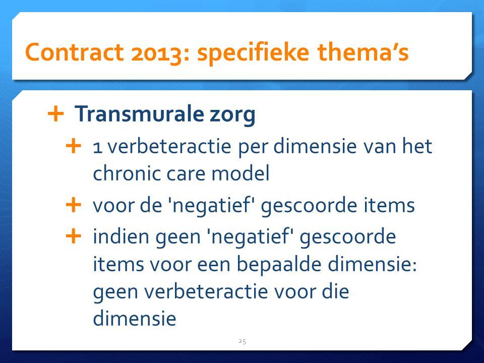 Contract 2013: specifieke thema's 25  Transmurale zorg  1 verbeteractie per dimensie van het chronic care model  voor de negatief gescoorde items  indien geen negatief gescoorde items voor een bepaalde dimensie: geen verbeteractie voor die dimensie