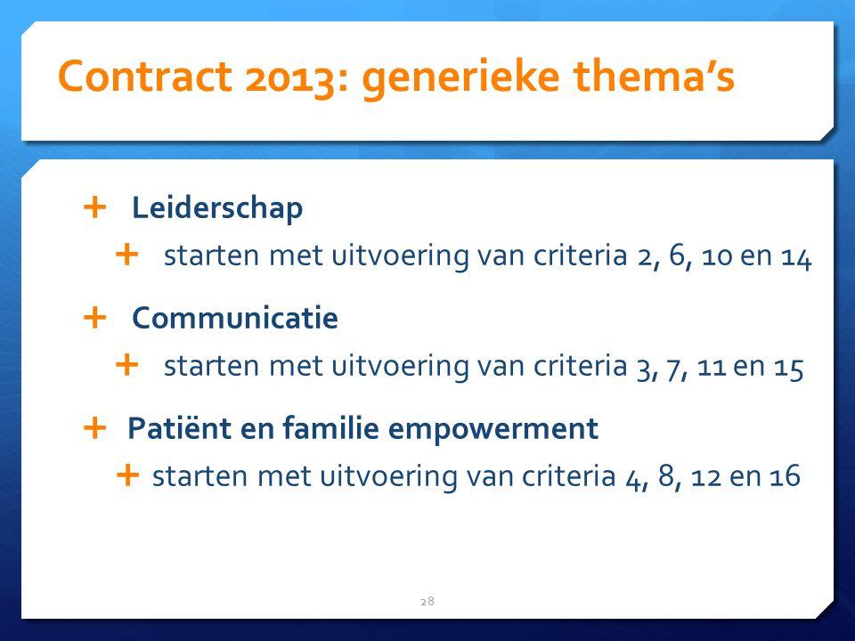 Contract 2013: generieke thema's 28  Leiderschap  starten met uitvoering van criteria 2, 6, 10 en 14  Communicatie  starten met uitvoering van criteria 3, 7, 11 en 15  Patiënt en familie empowerment  starten met uitvoering van criteria 4, 8, 12 en 16