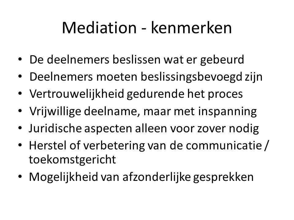 Mediation - kenmerken • De deelnemers beslissen wat er gebeurd • Deelnemers moeten beslissingsbevoegd zijn • Vertrouwelijkheid gedurende het proces •