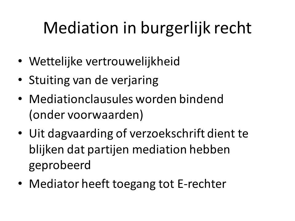 Mediation in burgerlijk recht • Wettelijke vertrouwelijkheid • Stuiting van de verjaring • Mediationclausules worden bindend (onder voorwaarden) • Uit