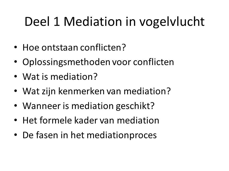 Deel 1 Mediation in vogelvlucht • Hoe ontstaan conflicten? • Oplossingsmethoden voor conflicten • Wat is mediation? • Wat zijn kenmerken van mediation