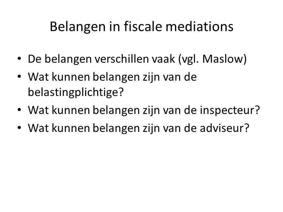 Belangen in fiscale mediations • De belangen verschillen vaak (vgl. Maslow) • Wat kunnen belangen zijn van de belastingplichtige? • Wat kunnen belange