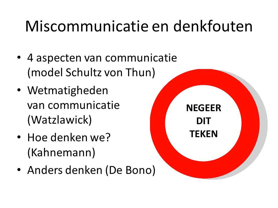 Miscommunicatie en denkfouten • 4 aspecten van communicatie (model Schultz von Thun) • Wetmatigheden van communicatie (Watzlawick) • Hoe denken we? (K