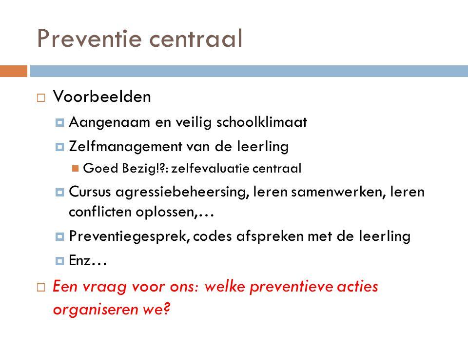 Preventie centraal  Voorbeelden  Aangenaam en veilig schoolklimaat  Zelfmanagement van de leerling  Goed Bezig!?: zelfevaluatie centraal  Cursus