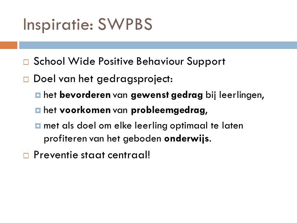 Inspiratie: SWPBS  School Wide Positive Behaviour Support  Doel van het gedragsproject:  het bevorderen van gewenst gedrag bij leerlingen,  het vo