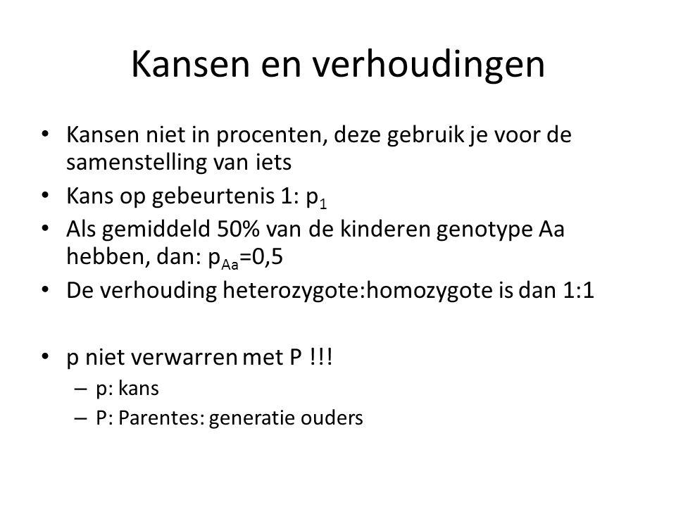 Kansen en verhoudingen • Kansen niet in procenten, deze gebruik je voor de samenstelling van iets • Kans op gebeurtenis 1: p 1 • Als gemiddeld 50% van de kinderen genotype Aa hebben, dan: p Aa =0,5 • De verhouding heterozygote:homozygote is dan 1:1 • p niet verwarren met P !!.