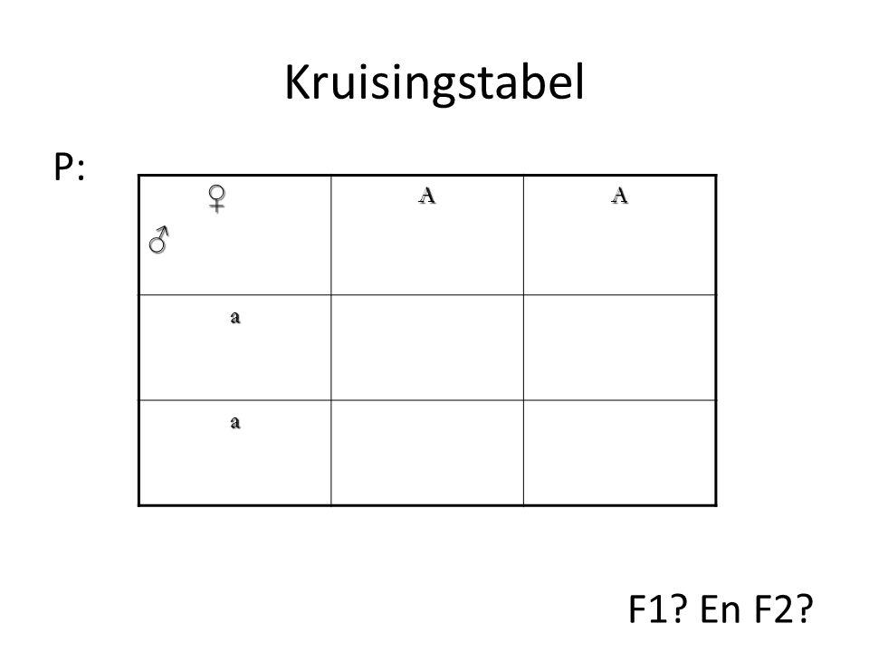 Kruisingstabel ♀♂AA a a P: F1? En F2?