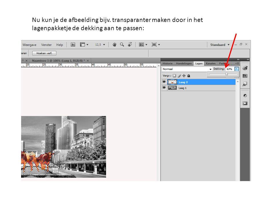 Nu kun je de afbeelding bijv. transparanter maken door in het lagenpakketje de dekking aan te passen: