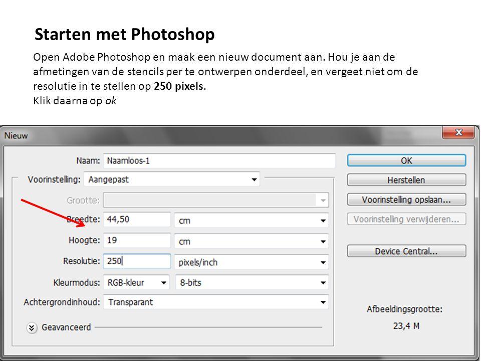 Open Adobe Photoshop en maak een nieuw document aan. Hou je aan de afmetingen van de stencils per te ontwerpen onderdeel, en vergeet niet om de resolu