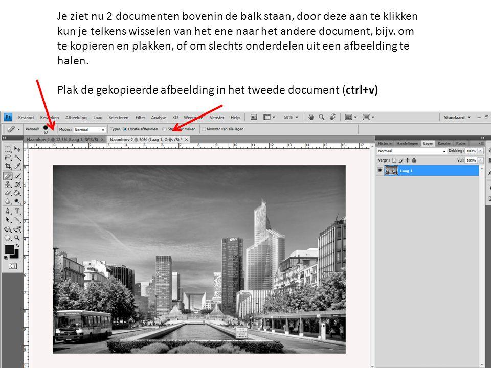 Je ziet nu 2 documenten bovenin de balk staan, door deze aan te klikken kun je telkens wisselen van het ene naar het andere document, bijv. om te kopi