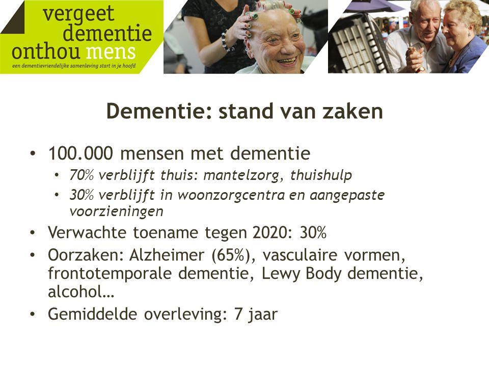 Dementie: stand van zaken • 100.000 mensen met dementie • 70% verblijft thuis: mantelzorg, thuishulp • 30% verblijft in woonzorgcentra en aangepaste v