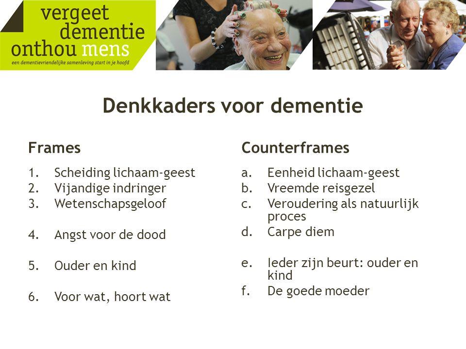 Denkkaders voor dementie Frames 1.Scheiding lichaam-geest 2.Vijandige indringer 3.Wetenschapsgeloof 4.Angst voor de dood 5.Ouder en kind 6.Voor wat, h