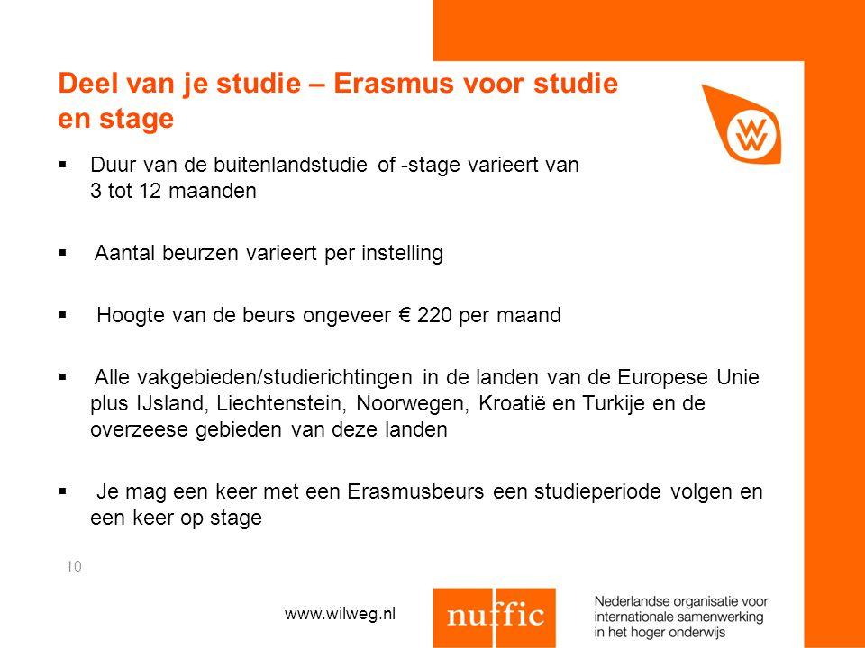Deel van je studie – Erasmus voor studie en stage  Duur van de buitenlandstudie of -stage varieert van 3 tot 12 maanden  Aantal beurzen varieert per