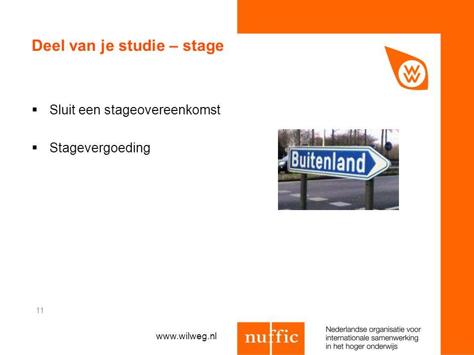 Deel van je studie – stage  Sluit een stageovereenkomst  Stagevergoeding 11 www.wilweg.nl