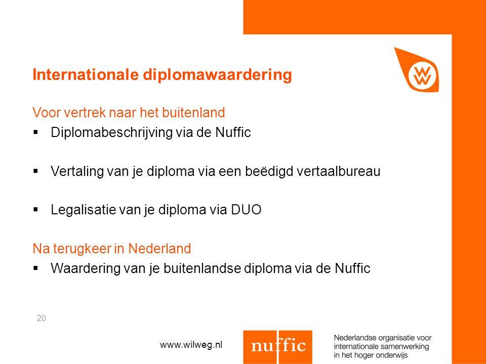 Internationale diplomawaardering Voor vertrek naar het buitenland  Diplomabeschrijving via de Nuffic  Vertaling van je diploma via een beëdigd verta