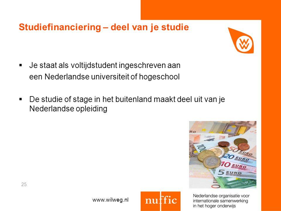 Studiefinanciering – deel van je studie  Je staat als voltijdstudent ingeschreven aan een Nederlandse universiteit of hogeschool  De studie of stage