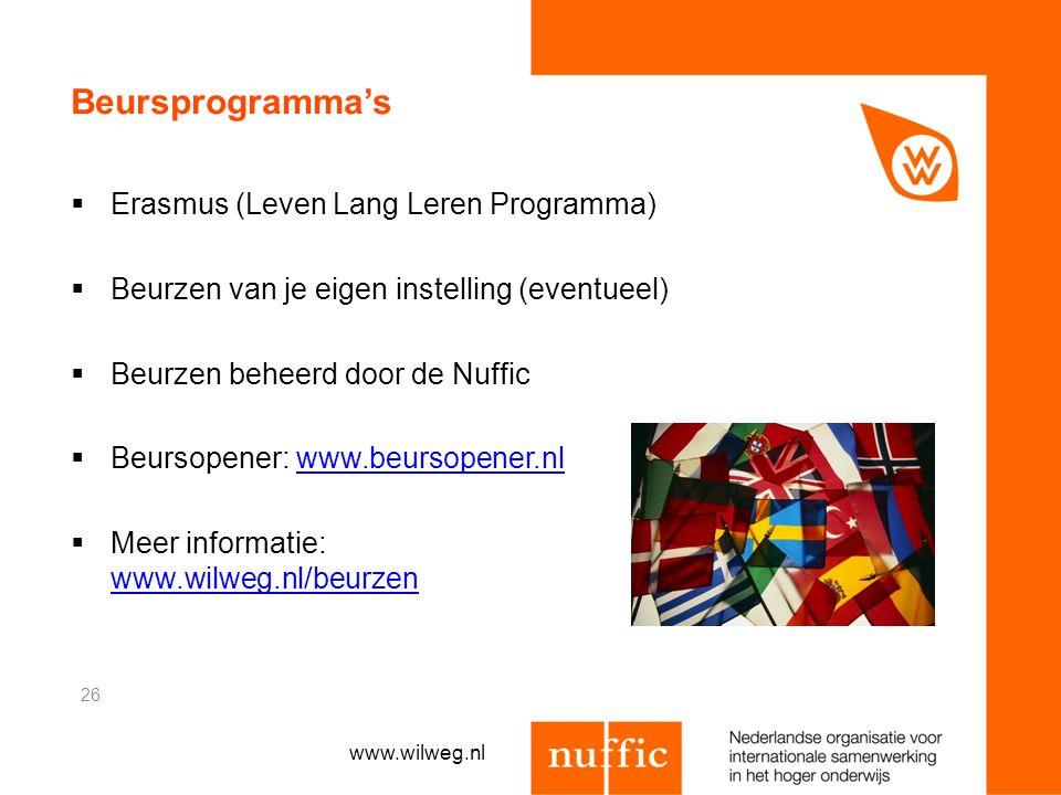 Beursprogramma's  Erasmus (Leven Lang Leren Programma)  Beurzen van je eigen instelling (eventueel)  Beurzen beheerd door de Nuffic  Beursopener:
