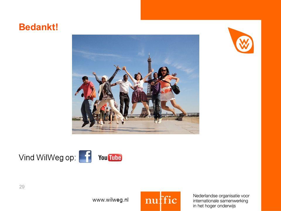 Bedankt! Vind WilWeg op: 29 www.wilweg.nl